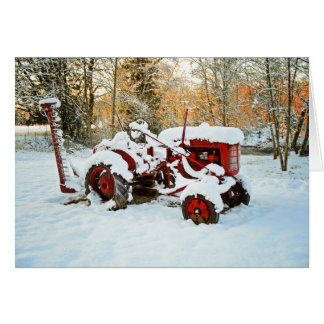 Rode Tractor in de Kaart van de Sneeuw