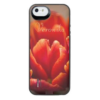 Rode tulp iPhone SE/5/5s batterij hoesje