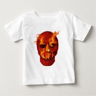 Rode Vlammende Schedel Baby T Shirts