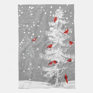 Rode Vogels, Witte Kerstmis Theedoek