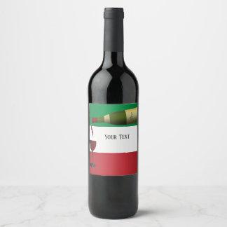 Rode Wijn die worden gegoten Wijnetiket