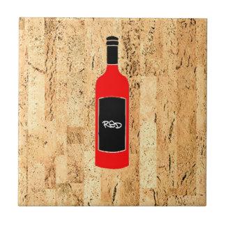 rode wijn het fles gesimuleerde cork ontwerp van tegeltje