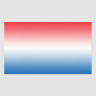 Rode Witte & Blauwe Ombre Rechthoekige Sticker