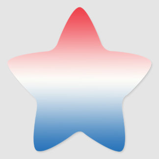 Rode Witte & Blauwe Ombre Ster Sticker