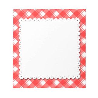 Rode Witte Doily van Faux van het Patroon van de Notitieblok