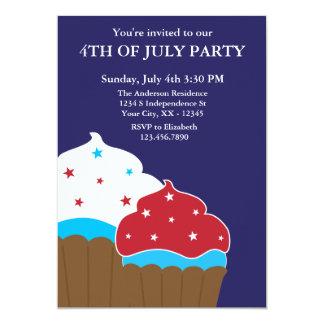 Rode Witte en Blauwe Cupcakes vierde van de Partij 12,7x17,8 Uitnodiging Kaart