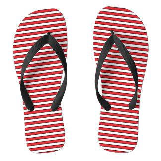 Rode, Witte en Zwarte Strepen Teenslippers