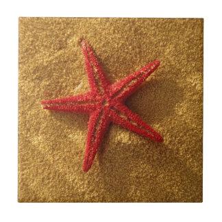 rode zeester keramisch tegeltje