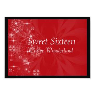 Rode Zoete Uitnodiging Zestien met Sneeuwvlokken