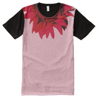 Rode Zonnebloem XXL die zwarte en roze accentueren All-Over-Print T-shirt