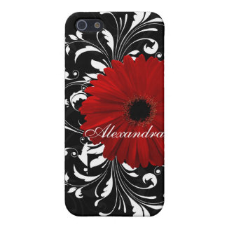 Rode, Zwart-witte Rol Gerbera Daisy iPhone 5 Covers