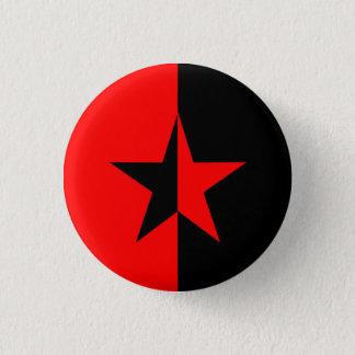 Rode/Zwarte Ster Ronde Button 3,2 Cm
