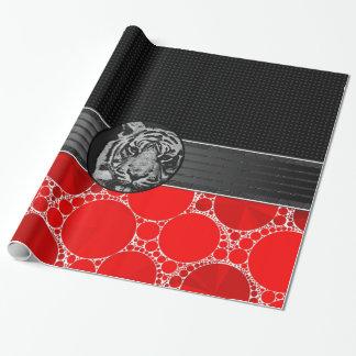 Rode Zwarte Tijger Bling Cadeaupapier