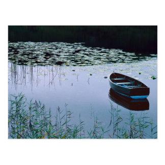 Roeiboot op klein meer dat door water wordt briefkaart