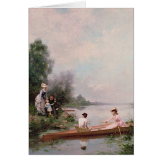 Roeien op de Rivier, 19de eeuw Wenskaart