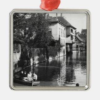 Roeien op de rivier Gera in Erfurt Zilverkleurig Vierkant Ornament