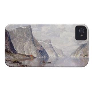Roeien op een Noorse Fjord (olie op canvas) iPhone 4 Hoesje