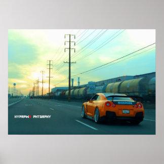 """""""Roest"""" Nissan GT-R op Industriezone bij Zonsonder Poster"""