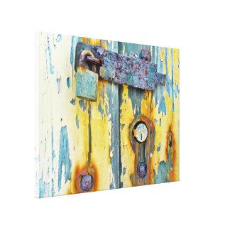 Roestig aqua geschilderd de galerijcanvas van het canvas afdruk