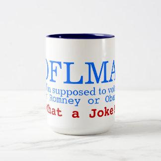 ROFLMA - ik ben de veronderstelde stem voor Obama Tweekleurige Koffiemok