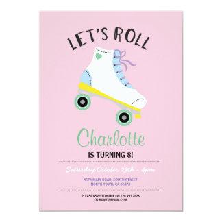 Rol de Meisjes van de Rolschaats de Roze Partij 12,7x17,8 Uitnodiging Kaart
