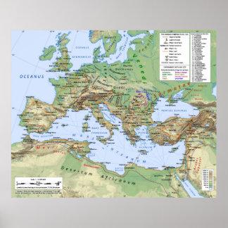 Roman Kaart van het Imperium tijdens regeert van K Poster