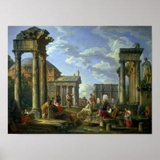 Roman Ruïnes met een Helderziende, 1751 Poster