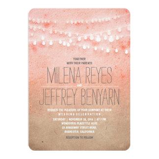 Romantisch bloos het Roze Huwelijk van de Lichten 12,7x17,8 Uitnodiging Kaart