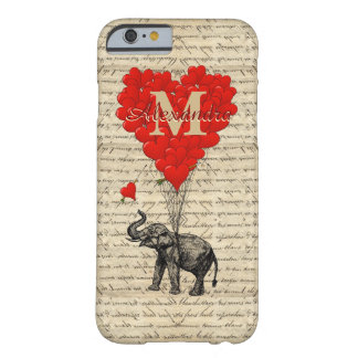 Romantisch olifant en hart met monogram barely there iPhone 6 hoesje