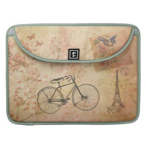 Romantisch Vintage Parijs in de Collage van de Beschermhoezen Voor MacBooks