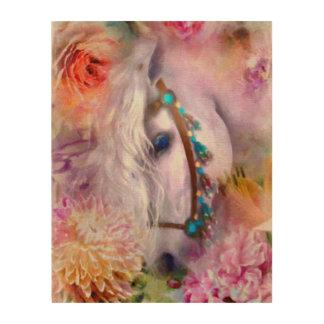 Romantisch Wit Paard met Lieveheersbeestje Houten Canvas Prints