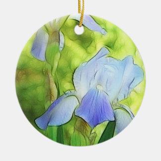 Romantische Blauwe Irissen Rond Keramisch Ornament