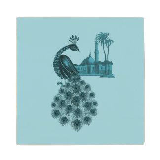 Romantische Blauwe Pauw Houten Onderzetter