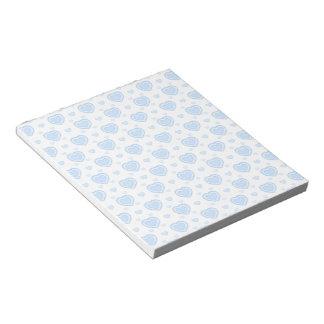 Romantische Blauwe & Witte Harten Notitieblok