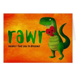 Romantische Dinosaurus RAWR T -t-rex Wenskaart