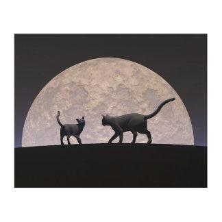 Romantische katten hout afdruk