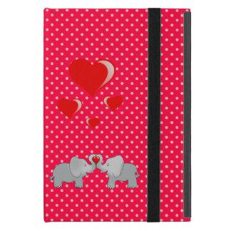 Romantische Olifanten & Rode Harten op Stippen iPad Mini Hoesje