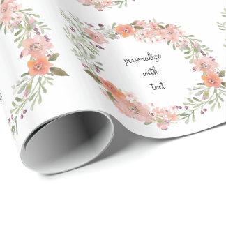 Romantische Perzik Bloemen Inpakpapier