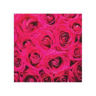 Romantische Roze Paarse Rozen Afdruk Op Hout