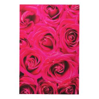 Romantische Roze Paarse Rozen Hout Afdrukken