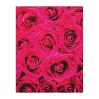 Romantische Roze Paarse Rozen Houten Canvas