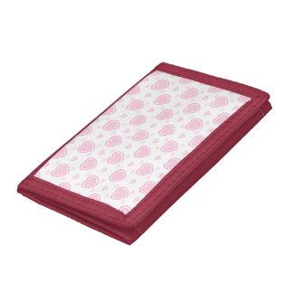 Romantische Roze & Witte Harten Drievoud Portemonnee