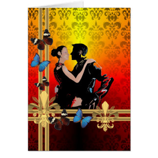 Romantische tangodansers op damast kaart
