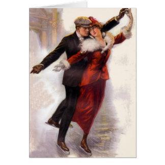 Romantische Victoriaans het Schaatsen van het Ijs Wenskaart