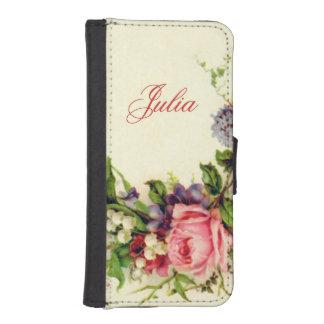 Romantische Vintage Gepersonaliseerd Bloemen iPhone 5 Portemonnee Hoesje