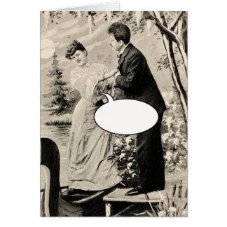 Romantische vintage minnaars op een boot wenskaart