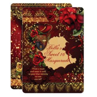Romantische Zoete Partij 16 van de Maskerade 12,7x17,8 Uitnodiging Kaart