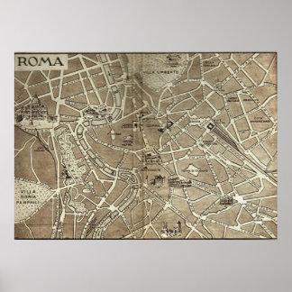 Rome, kaart, 1900 poster