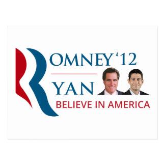 Romney/Ryan 2012 voor het President van de V.S. en Briefkaart