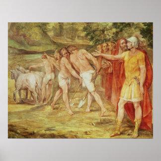Romulus die de grenzen van Rome merken Poster
